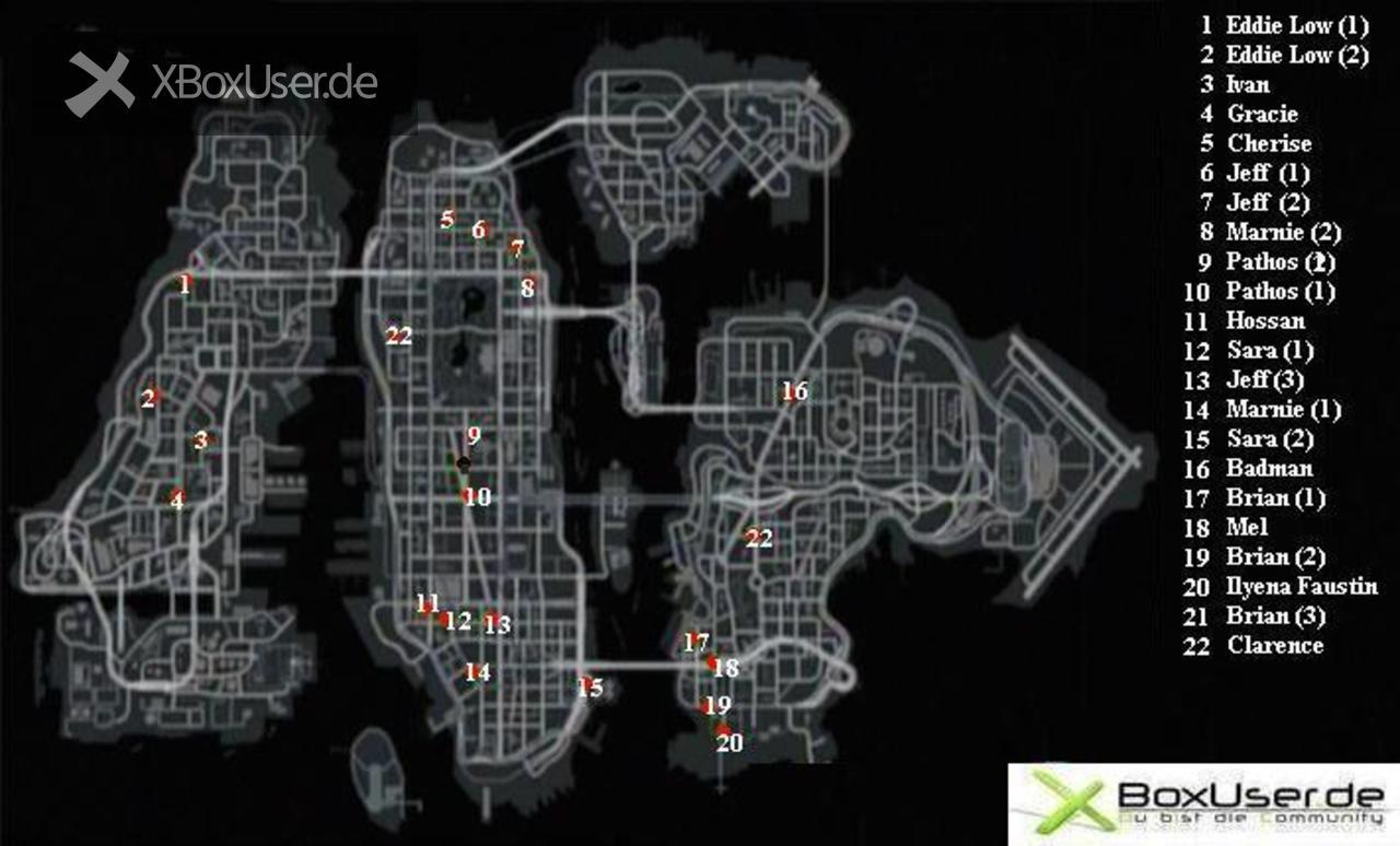 Grand Theft Auto 4 Karte Mit Den Zufallscharakteren Tipps